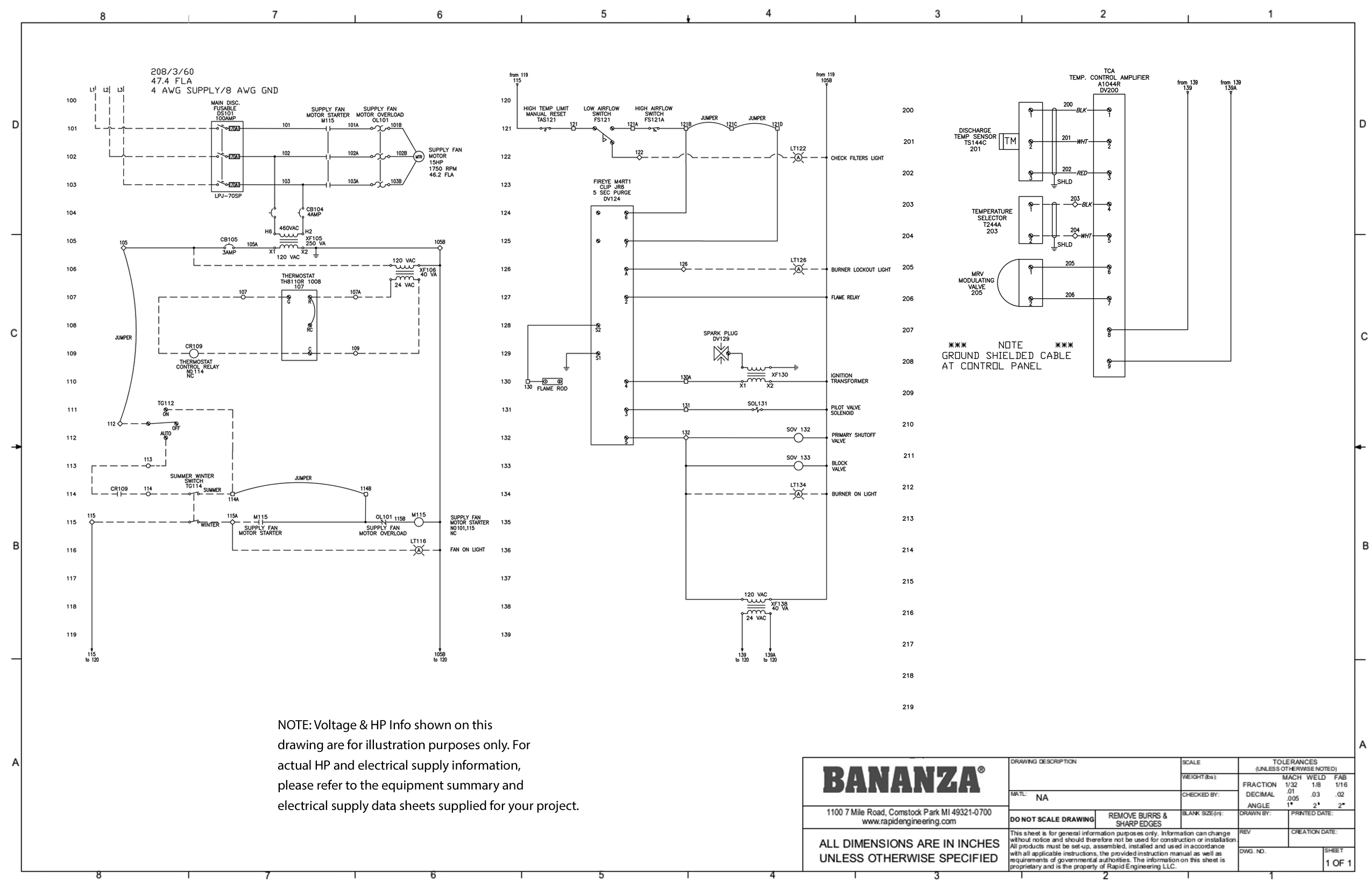 Direct Fired Submittal Drawings From Bananza Wireing 208 Motor Starter Diagram Dtc